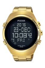 Pulsar Sports Gents Gold Tone Chronograph Digital World Time Watch PQ2 056