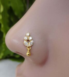 Indian Nose Ring Nose Piercing Brass Stone Crock Screw Nose Ring Silver Jewelry