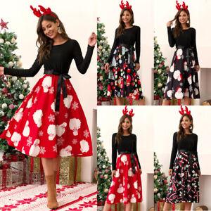 Womens Vintage Christmas Midi Swing Dress Ladies Xmas Party Skater Fancy Dresses
