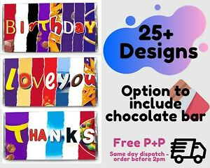 NOVELTY CHOCOLATE BAR WRAPPER | Birthday Father's Day Eid Thank You | FREE POST