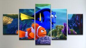Set of 5 Framed Canvas Picture Prints - Disney Nemo / Dory