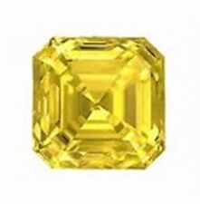 2.00 CT. ASSCHER MOISSANITE CANARY YELLOW 7.70 mm. LOOSE SUPERIOR TO DIAMOND