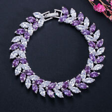 Multi Purple Amethyst White Topaz Gems Wheat 925 Sterling Silver Plated Bracelet