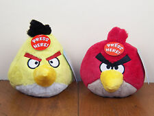 "Angry Birds 2-Lot Yellow Chuck & Red 5"" Plush Stuffed Animal Doll W/ Sound *NEW*"