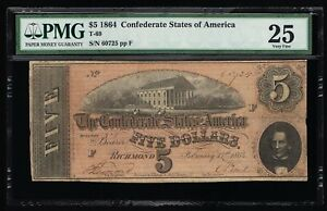 AFFORDABLE GENUINE CSA T-69 1864 CONFEDERATE $5 NOTE PMG 25 VERY FINE PP-F