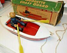 Rare 1930 Woodette Coast Guard Pressed Steel Uscg Wood Figure Toy Rowboat & Box