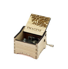 Personalized Hand Crank Wooden Music Box (John Lennon - Imagine)