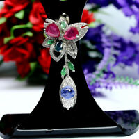 NATURAL RED RUBY SAPPHIRE EMERALD TANZANITE & CZ PENDANT 925 STERLING SILVER