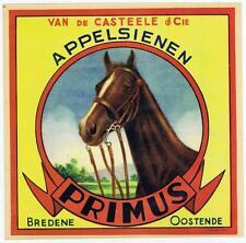 Primus Applesienen, vintage spanish orange fruit crate label, horse, bredene
