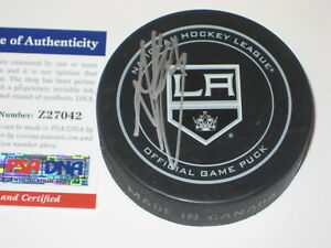 ANZE KOPITAR Signed L.A. KINGS Official GAME Puck w/ PSA COA