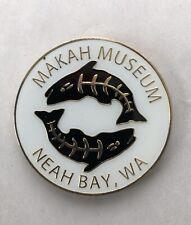 Makah Museum Neah Bay WA Metal Circle Enamel MAGNET Fish White/Black/Gold
