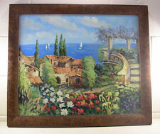 Vintage Oil Painting Vintage Seascape Seaside Decor Burl Wood Frame Villa 27""