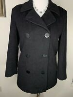 LL Bean Women's Size 8 Black Wool Cashmere Blend Pea Coat Satin Lining Pockets