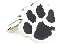 Paw Black Animal Tiger Football Bear Cub Cufflinks + Box & Cleaner