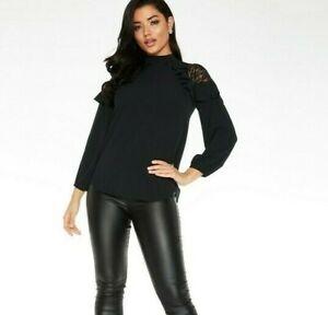 Quiz Lace Shoulder Ruffle Sleeve Blouse - Black BNWT Size 8