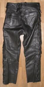 fette Damen- Schnür- LEDERJEANS / Biker- Lederhose in schwarz in ca. Gr. 40