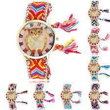 Ethnic Women Owl Knitted Weaved Rope Bracelet Tassels Bangle Quartz Wrist Watch