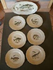 Antico SERVITO BAVARIA SCHIRNDING DA PESCE Vassoio + 6 Piatti