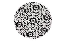 7 Inch Dessert Paper Plates Mosaic Floral Print Black & White 20 Count
