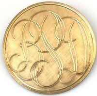 VINTAGE 12K GOLD FILLED BROOCH ETCHED MONOGRAM BPD ESTATE JEWELRY 7 grams