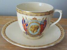 KING GEORGE VI & QUEEN ELIZABETH 1937 CREAMPETAL CORONATION TEA CUP & SAUCER