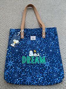 BNWT Cath Kidston X Peanuts - Snoopy blue Shopper Leather Handle Bag
