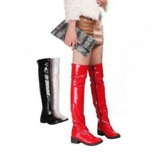 Womens Patent Leather Low Heels nightclub Pole zip dance Knee High Party Boots