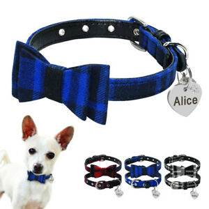 Leather Padded Small Pet Puppy Dog Bow Tie Collar and Anti-Lost ID Tag Engraved