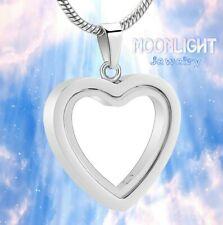 New See Through Glass Heart Urn Cremation Pendant Ash Holder Memorial Necklace