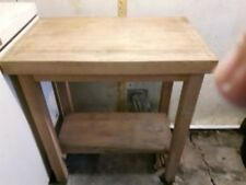 Kitchen Island Trolley Cart Natural Wood Butcher Block Counter Cushioned Casters