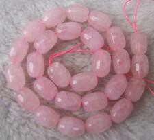 10x14mm Natural Pink Rose Quartz Faceted Barrel Loose Beads Stone 15.5""