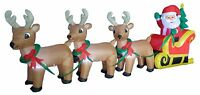 8 Foot Christmas Inflatable Santa Claus Reindeer Sleigh Blowup Yard Decoration