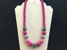 Women's Pink And Grey Bead Necklace