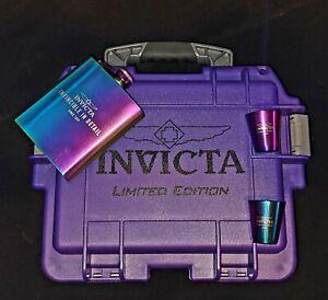 Invicta Purple Iridescent Watch Dive Case & Flask Set Shot Glasses Limited Ed