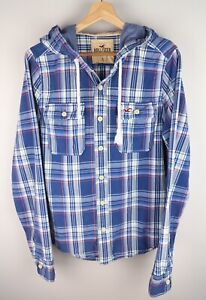 Hollister Men Hooded Shirt Casual Check Blue Cotton size L