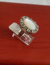 92.5 STERLING SILVER MOTHER OF PEARL MARCASITE RING SIZE 7- ARGENT CREATIONS