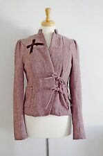 KOMODO jacket WOOL TWEED pink herringbone UK 10 ETHICAL FASHION 1930'S 40'S