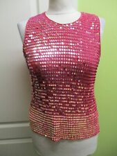 AMARANTO 1990s vintage SIZE 12 LADIES PINK STRETCHY CROCHET SEQUINNED TOP
