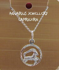 "CAPRICORN ZODIAC STERLING SILVER  PENDANT WITH 18"" CHAIN FREE GIFT BOX"