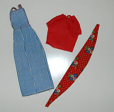 SKIPPER BEST BUY 7222 BLUE AND WHITE STRIPED OVERALLS RED TOP WITH SCARF