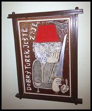OTON KOVARIK WOODCARVING PAINTING ON REDWOOD BY LEGENDARY CZECH ARTIST 1928-2010