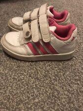 Girls Adidas Trainers White Pink Velcro Size 10k Uk