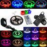 5050/3528 RGB LED Strip 12V Waterproof Kit 300 SMD Power Adapter + 44Key Remote