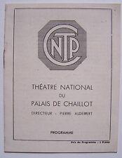 #) programme THEATRE NATIONAL DU PALAIS DE CHAILLOT