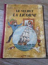 le secret de la licorne A20 (1943) EO dos blanc tintin Hergé côte BDM +1 800e