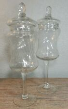 Apothecary Jars Tall  Clear Swirl Glass with Lids