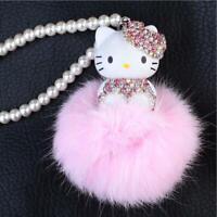 Hello Kitty Keychain Crystal Monchichi Pom Pom Fur Ball Bag Car Pearl Key Ring
