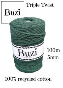 Macramé Cord String Triple Twisted 100% Recycled Soft Cotton BOTTLE GREEN 100m