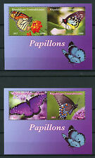 Central African Rep 2017 MNH Butterflies 2x 2v M/S Butterfly Insects Stamps