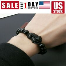 Bracelet Wealth Attract and Good Luck Feng Shui Obsidian Stone Wealth Pi Xiu